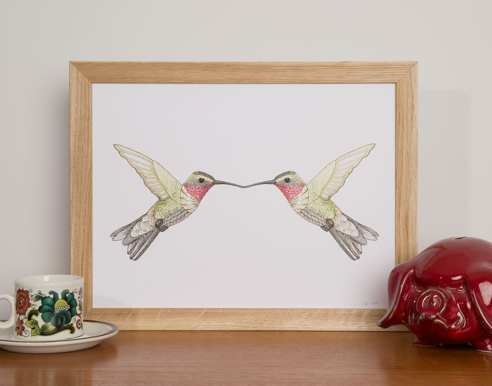 HAPPY-LITTLE-HUMMINGBIRDS-framed